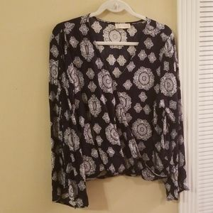 Navy blue and white blouse, NWOT